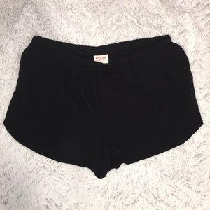 Black cotton loose fitting shorts